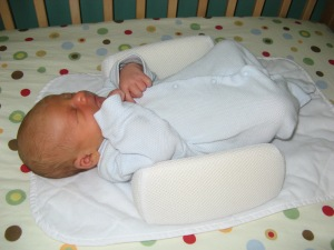 Jacob as a newborn trying out sleeping.  (He soon decided he didn't like it.)